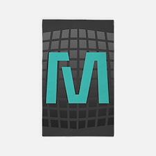 Cool Mint Monogram Area Rug
