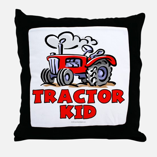Red Tractor Kid Throw Pillow