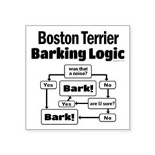 "Boston Terrier Logic Square Sticker 3"" x 3"""