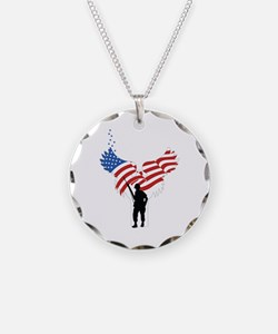 Soldiers Angel Flag Necklace