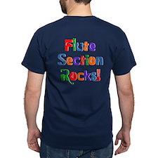 Flute Section Rocks Color T-Shirt