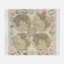 Globe Passport stamp Throw Blanket
