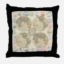 Globe Passport stamp Throw Pillow