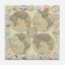 Globe Passport Stamp Tile Coaster