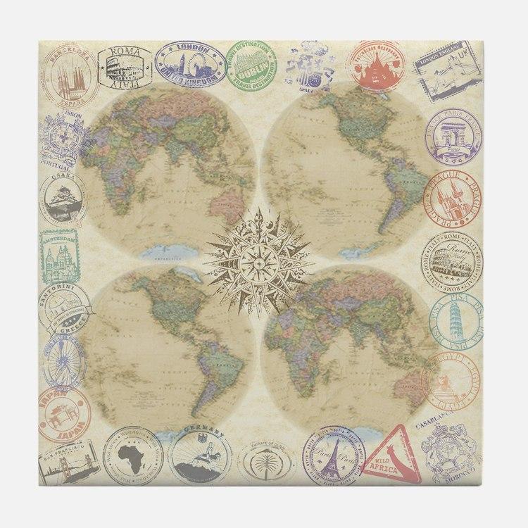 Globe Passport Stamp Tile Coaster