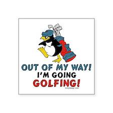 Golfing Penguin Rectangle Sticker