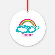 Cloud Rainbow Teacher Ornament (Round)