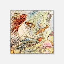 "Vintage Mermaid Square Sticker 3"" x 3"""