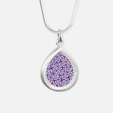 Alzheimer's Purple Ribbo Silver Teardrop Necklace