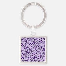 Alzheimer's Purple Ribbon Square Keychain