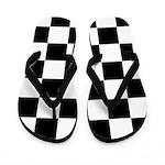 Checkerboard Black White Flip Flops