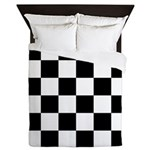Checkerboard Black White Queen Duvet