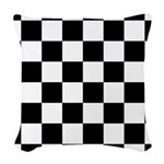 Checkerboard Black White Woven Throw Pillow