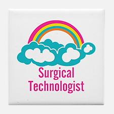 Cloud Rainbow Surgical Technologist Tile Coaster