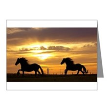 Sunset with horses Note Cards