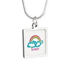 Rainbow Cloud Surveyor Silver Square Necklace
