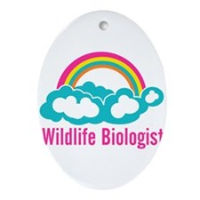 Wildlife Biologist Rainbow Cloud Ornament (Oval)