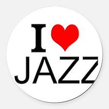 I Love Jazz Round Car Magnet