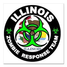 "Illinois Zombie Response Square Car Magnet 3"" x 3"""