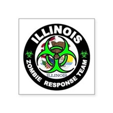 "Illinois Zombie Response Te Square Sticker 3"" x 3"""