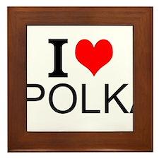 I Love Polka Framed Tile