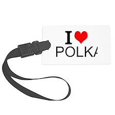 I Love Polka Luggage Tag