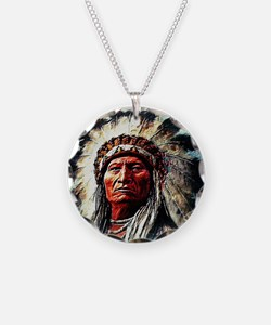 Sitting Bull Necklace Circle Charm
