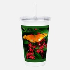 Butterfly and Flowers Acrylic Double-wall Tumbler