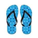 Geometric Blue Checkerboard Flip Flops