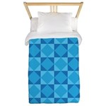 Geometric Blue Checkerboard Twin Duvet
