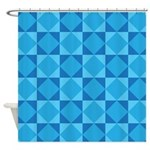 Geometric Blue Checkerboard Shower Curtain