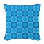 Geometric Blue Checkerboard Woven Throw Pillow
