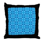 Geometric Blue Checkerboard Throw Pillow