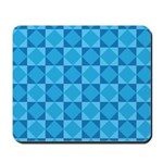 Geometric Blue Checkerboard Mousepad