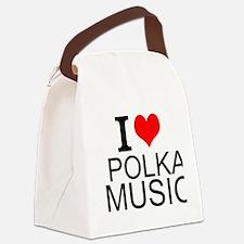 I Love Polka Music Canvas Lunch Bag
