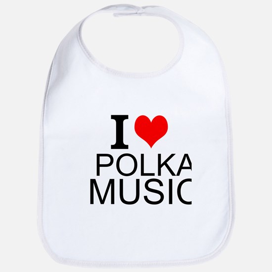 I Love Polka Music Bib