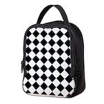 Diamond Black White Neoprene Lunch Bag