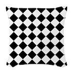 Diamond Black White Woven Throw Pillow