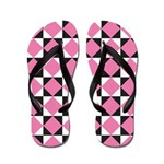 Diamond Black White Flip Flops