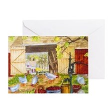 Chickens in the Barnyard Greeting Card