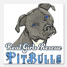 "Unique Pitbull Square Car Magnet 3"" x 3"""