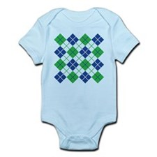 Argyle Design in Blue and Green Body Suit