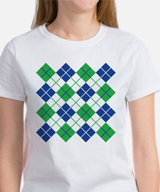 Argyle Design in Blue and Green T-Shirt