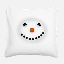 Snowman Face DARKS Square Canvas Pillow