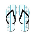 Anchor Nautical Turquoise Flip Flops