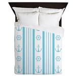 Anchor Nautical Turquoise Queen Duvet