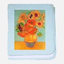 Cute Irises vase van gogh baby blanket