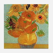 Cute Sunflower van gogh Tile Coaster