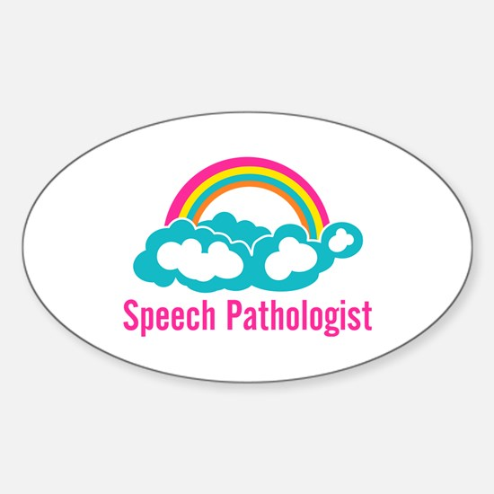 Cloud Rainbow Speech Pathologist Sticker (Oval)