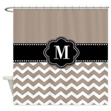 Tan Black Chevron Monogram Shower Curtain
